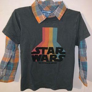 Set Boys Star Wars T & Plaid Button Down 5T